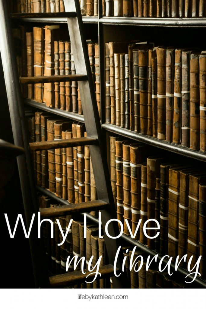 old library books with a ladder text overlay: Why I Love My Library