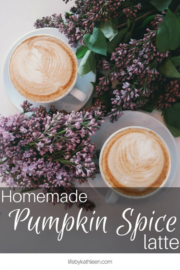 This homemade pumpkin spice latte recipe is warming on a coldfall day. Switch it up with an iced latte or try a vegan option with almond milk. #PSL #pumpkinspicelatte #homemade #DIY #fall #expressi #aldiexpressi #iced #vegan