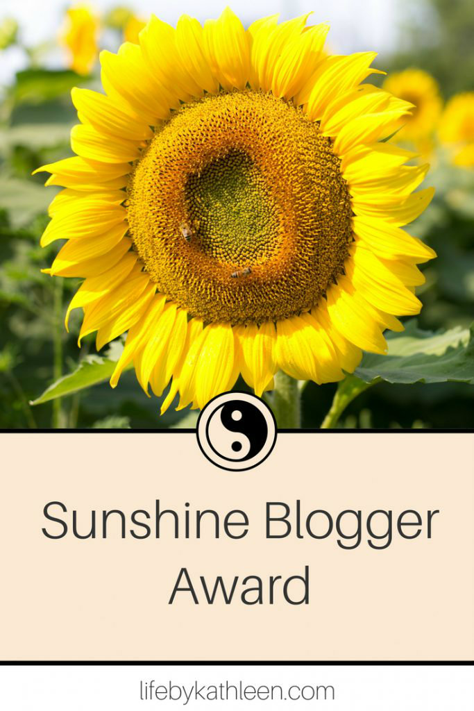 sunflower text overlay sunshine blogger award