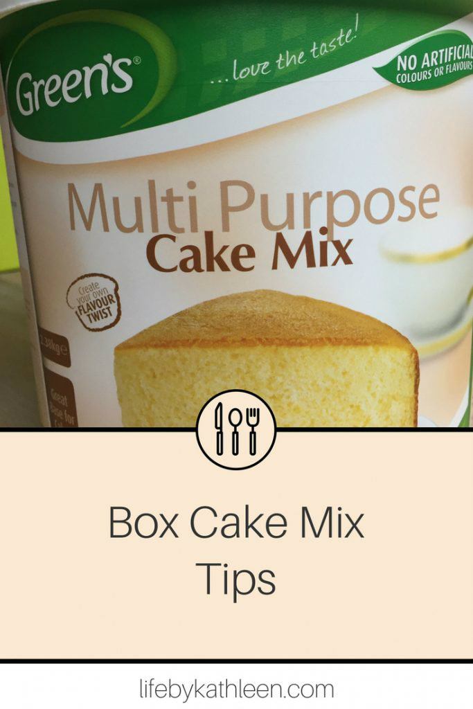 green's multi purpose cake mix text overlay box cake mix tips