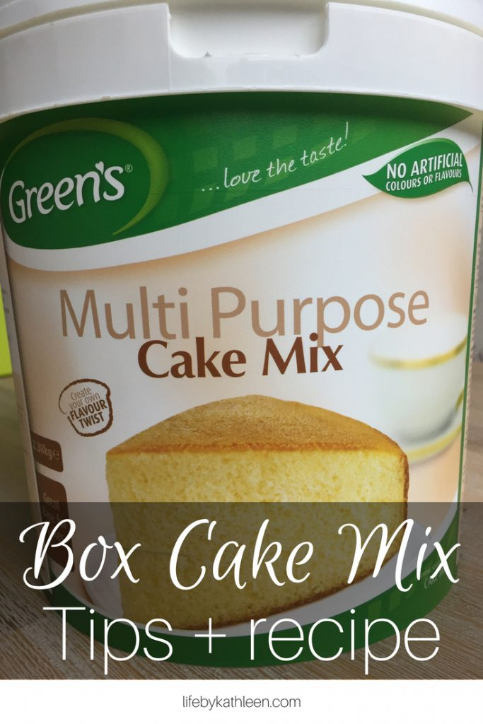 multi purpose cake mix text overlay: box cake mix tips + recipe