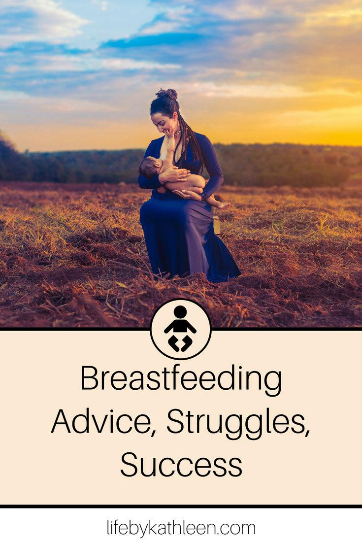 lady breastfeeding in a field text overlay breastfeeding advice, struggles, success