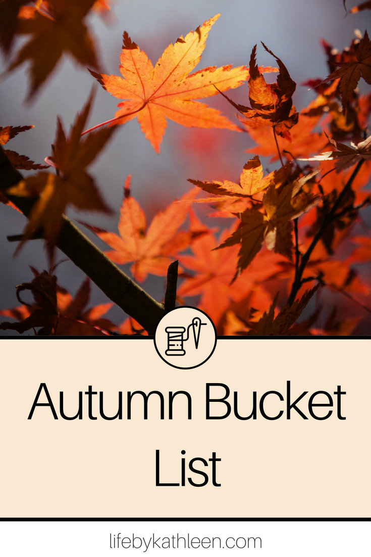 autumn leaves on a tree. text overlay autumn bucket list