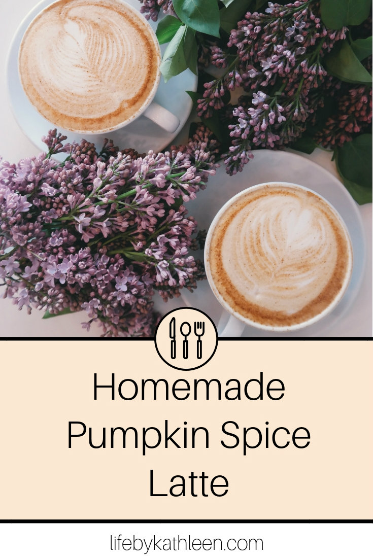 coffees with flowers text overlay: homemade pumpkin spice latte