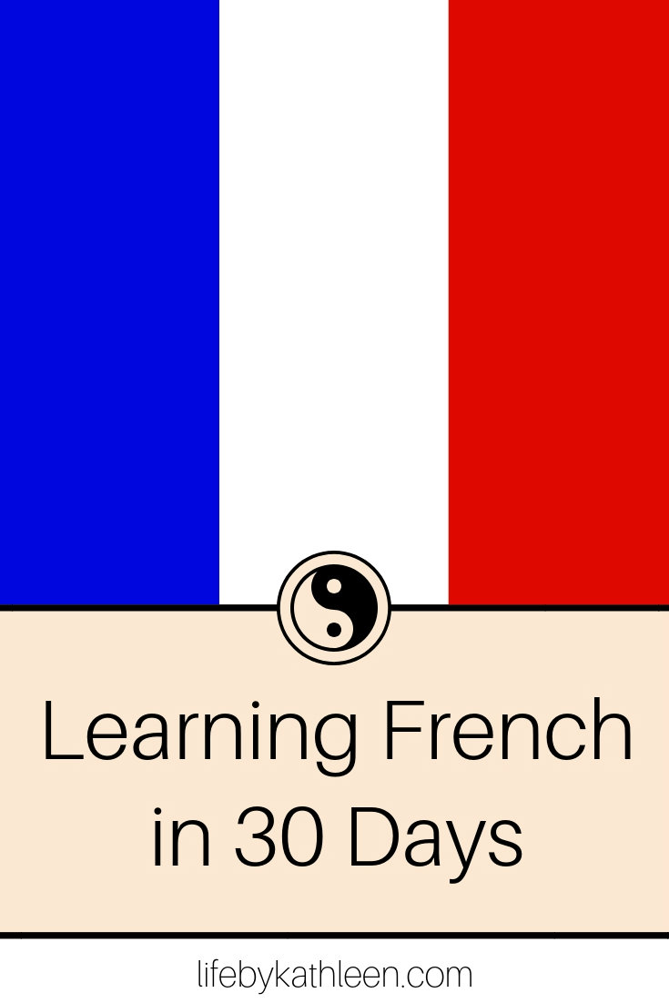 french flag text overlay Learning French in 30 Days