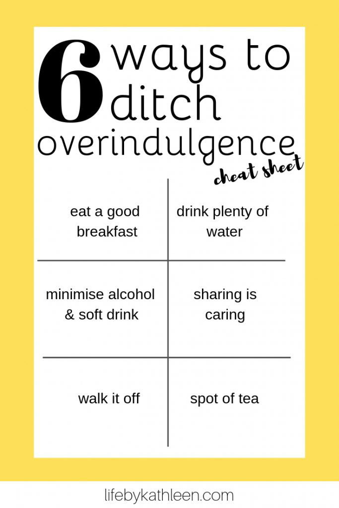 6 ways to ditch overindulgence cheat sheet
