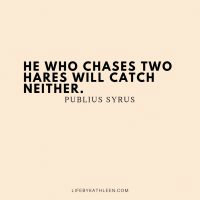 He who chases two hares will catch neither - Publius Syrus