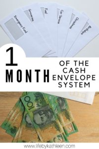 1 month of the cash envelope system