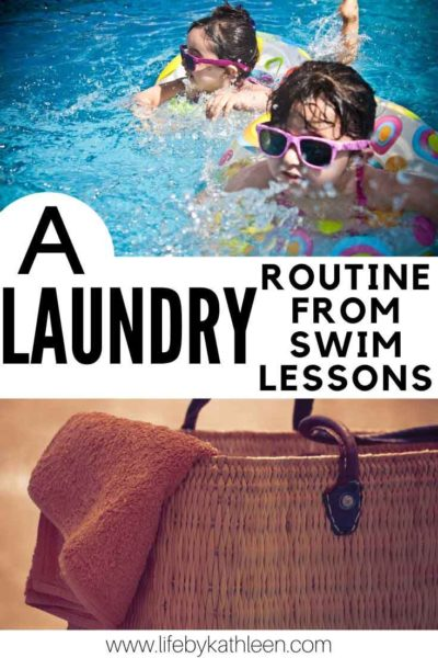 A laundry routine from swimming lessons